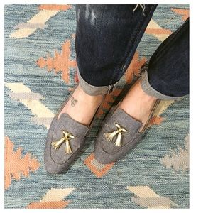 Cole Haan Denim Loafers with Gold Tassels 8.5